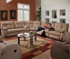 Shop for Reclining Sectional Sofas at Zak's Home. Our large selection, expert advice, and excellent prices will help you find Reclining Sectional Sofas that fit your style and budget. Sectional Sofa With Recliner, Reclining Sectional, Living Room Sectional, Lift Recliners, Modern Sectional, Modern Sofa, Sofa Design, Bedroom Furniture Design, Stacy Furniture