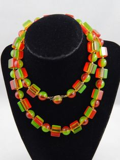 Vintage 1940's Green Apple & Cherry red Striped Lucite Round Cube Bead Necklace