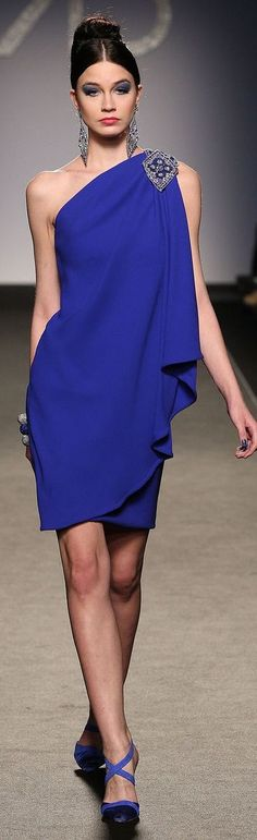 Farb-und Stilberatung mit www.farben-reich.com - Renato Balestra ~ One Shoulder Cocktail Dress, Royal Blue