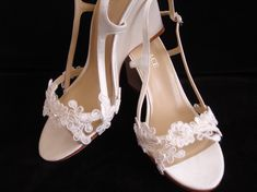 """Coutured French Alencon Lace and Silk Grace """"Brooke"""" Wedding Wedges in Ivory via Etsy."""