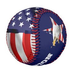 Brave Bald Eagle The American Flag Star Baseball - tap, personalize, buy right now! #Baseball  #bald #eagle #united #states #flag Eagle Sports, American Flag Stars, Team Games, Team Pictures, Navy Blue Background, Sports Gifts, Usa Flag, A Team, Bald Eagle