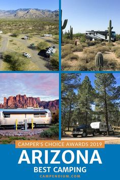 Discover the best camping in Arizona with the 2019 Campendium Communities top 35 best campground reviews to help you find just what you are looking for!  You will find:  cell phone service quality,  a map of the area,  list of amenities, maximum rig size,  type of pad (if any),  stay limits, and sightseeing tips.  #CampendiumApp #ArizonaCampgroundReviews #CampersChoiceAwards #5StarCamping #CampingRecommendations #BestArizonaCampgrounds Camping Spots, Camping Guide, Rv Camping, Rv Parks, State Parks, Best Campgrounds, Travel Usa, Travel Tips, Service Quality