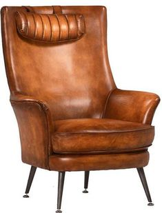 Arm Chair KLINE Aged Metal Legs Top Grain Cow Leather Upholstery New Hand  DT 693