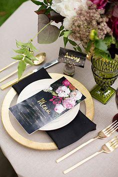 Black, pink and gold dark botanical wedding menu | www.onefabday.com