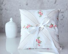 vintage ring pillow with red floral design (by gathered) #handmade #wedding
