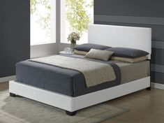 Global Furniture USA White Modern white kids bed This classic and sleek Queen Platform Bed, Upholstered Platform Bed, Queen Size Bedding, White Bedding, Bedding Sets, White Full Size Bed, Full Size Beds, Full Bed, Modern Kids Beds