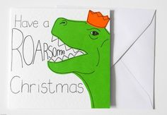 Handmade Dinosaur Christmas card Dino Xmas by SamfireGreetingCards