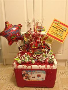 """A Birthday gift anyone would like! A cooler, (with styrofoam in it) filled with blow pops, and lottery tickets! Decorate with the sign: 40 doesn't """"Blow"""", 40 doesn't """"Suck! Here's to hoping 40 makes you a little """"cooler"""" and brings you lots of """"Luck""""! Birthday Candy, 40th Birthday Parties, 70th Birthday, Birthday Ideas, Funny Birthday, Craft Gifts, Diy Gifts, Gifts For Brother, Candy Gifts"""