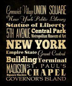 New York New York Typography Art  Canvas