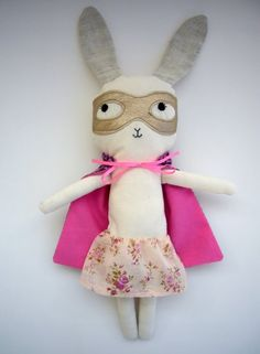 How adorable is this?? A bunny superhero with a pink cape - sure my niece would love it! from french blog des fils et des gommettes