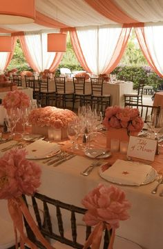wedding backdrop | Party Fabrics Blog- WAY too much of the same color...but could be done well