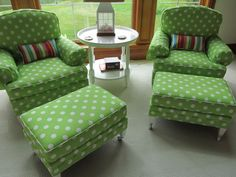 Oh, that Dean would let me do this!!!  green polka dot chairs rock!