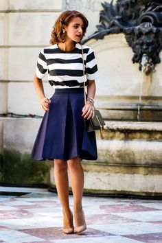 Top by Zara, COS Skirt, Christian Louboutin Heels, Saint Laurent Bag Mode Outfits, Fashion Outfits, Womens Fashion, Fashion Week, Paris Fashion, Estilo Navy, Nice Dresses, Dresses For Work, Summer Outfits
