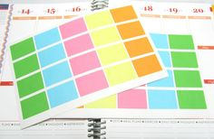20 Colorful Light Half Box Planner Stickers For Your EC Life Planner, Plum planner and others...