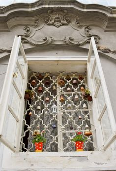 Bell grille in the window in Prague, Czechia Pinocchio, Balconies, Study Abroad, Czech Republic, Windows And Doors, Prague, Gates, Wine Rack, Places To Go