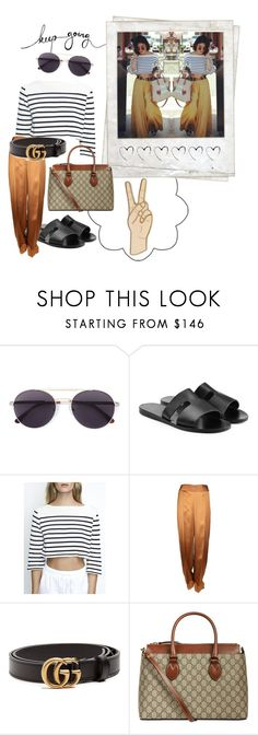 """""""Vanessa"""" by lyssalove28 ❤ liked on Polyvore featuring Polaroid, Vera Wang, Ancient Greek Sandals, Maison Margiela, Gucci and Lucky Brand"""