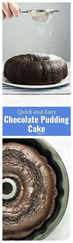 This quick and easy Chocolate Pudding Cake recipe is a delicious cake mix hack! There are only five simple ingredients and the result is the most perfectly moist cake you'll ever taste. This is an awesome last-minute dessert to throw together and it's so good that people will have no idea it's from a box! Click on the photo to get the recipe.