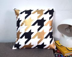 """Houndstooth Pillow Cover-black and gold printed in white cotton-16""""(40CM). $33.00, via Etsy."""