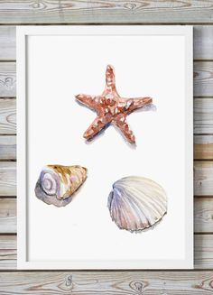 Shell and starfish Watercolor Painting - Giclee Print - Sea shell Art - Beach…