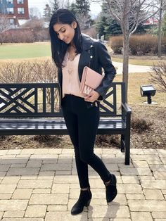 Perfect faux leather jacket with cozy blush pink lace cami paired with $10 black jeans and Rebecca Minkoff Necklaces. See More At www.thestyleofshah.com Pink Lace, Blush Pink, Faux Leather Jackets, Rebecca Minkoff, Cami, Black Jeans, Necklaces, Pairs, Outfits