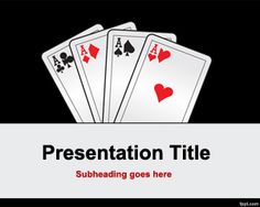 Free Poker cards PowerPoint template with dark background style
