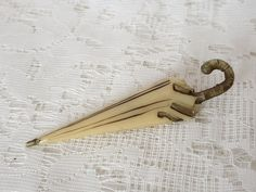 Umbrella-brooch celluloid, 30/40's Tie Clip, Brooches, Plastic, Accessories, Vintage, Collection, Fashion, Moda, Brooch