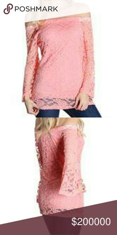 💞 COMING SOON 💞Pink Crochet off the Shoulder Top Pink Crochet off the shoulder long sleeve top. 95% Rayon, 5% Spandex. Tops Blouses