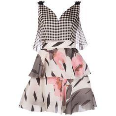 Delpozo Gingham Floral Dress (186.860 RUB) ❤ liked on Polyvore featuring dresses, vestidos, short dresses, robes, pink mini dress, floral dress, pink sequin cocktail dress, pink cocktail dress and flower print dress