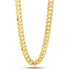 King Ice 14K Gold 12MM Cuban Curb Chain (105 CAD) ❤ liked on Polyvore featuring men's fashion, men's jewelry, men's necklaces, jewelry, jewelry., gold, mens gold chain necklace, mens yellow gold cross necklace, mens 14k gold chain necklace and mens curb chain necklace