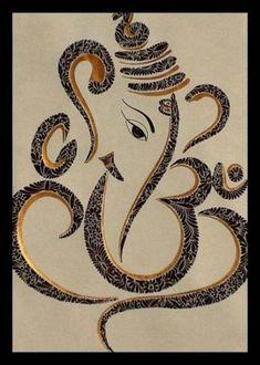 Ganesh ji - Black and Gold Ink So beautiful! Arte Ganesha, Arte Krishna, Ganesha Drawing, Ganesha Tattoo, Lord Ganesha Paintings, Indian Gods, Indian Art, Mandala Design, Tatoo