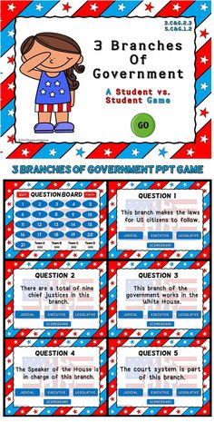 This game reviews basic information about the 3 branches of government: Executive, Legislative, and Judicial. Students are give a clue about one of the three branches and they must decided which branch it is. There are 21 questions and you just click on each question to go to it. The question disappears after you've clicked on it so you know you've answered it. There is a type-in scoreboard.  The scoreboard can be typed in during Slideshow Mode. ou can have up to 4 teams.