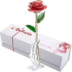 Chic DEFAITH 24K Gold Rose Made from Real Fresh Long Stem Rose Flower, Great Anniversary Gifts for Her, Red with Stand Home Kitchen. [$44.99] findandbuytopstyle from top store