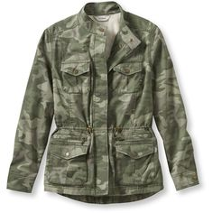 L.L.Bean Women's Lined Freeport Field Military Inspired Jacket, Camo... ($40) ❤ liked on Polyvore featuring outerwear, jackets, petite jackets, green field jacket, lightweight camo jacket, military style jacket and green military jacket
