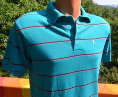 vintage 80s golf polo shirt stripe teal raintree DUCK collar Small Medium preppy charlotte hornets at SkippyHaha.com