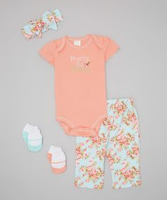 Look at this Coral 'Pretty Like Mommy' Five-Piece Layette Set - Infant on #zulily today!