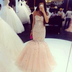 Champagne Prom Dresses,Tulle Prom Dress,Sexy Prom Dress,Mermaid Prom Dresses,2018 Formal Gown,Beading Evening Gowns,Beaded Formal Dress,Prom Gown For Teen PD20184975