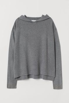 Hooded jumper in a soft, fine knit with low dropped shoulders, long sleeves and high slits in the sides. Longer at the back. Hooded Sweater, Grey Sweater, Jumper, Lady Grey, Hoodie Dress, Grey Hoodie, Fashion Company, World Of Fashion, Sleeve Styles