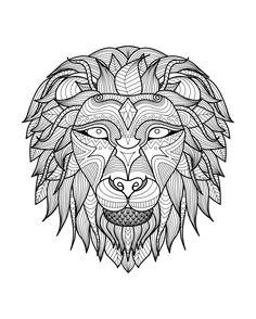 Galerie de coloriages gratuits coloriage-adulte-tete-lion-2.