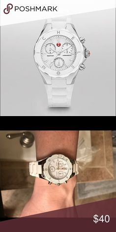Ladies Michele Tahitian Jelly Bean Watch White Michele Tahitian Jelly Bean Watch - working condition and in great shape except a crack on the left side of the face.  Needs a new battery.  Loved this watch but have too many!  Great deal. Michele Accessories Watches