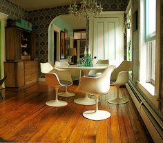 Article: Understanding Eclectic Style in Interior Design (Love that hardwood floor and pale green/teal accent color)
