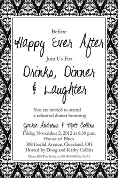 Happy Ever After, Drinks & Laughter Rehearsal Dinner Invitation, DIY Printable Invite. $12.50, via Etsy.