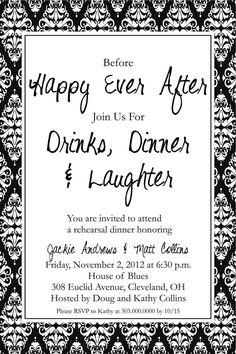 Happy Ever After, Drinks & Laughter Rehearsal Dinner Invitation, DIY Printable Invite. $12.50, via Etsy.