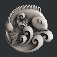 Modelos STL para impresora o router cnc fish Ceramic Fish, Ceramic Art, Wood Sculpture, Sculptures, Fish Sculpture, 3d Printer Designs, 3d Cnc, 3d Modelle, 3d Printing Service