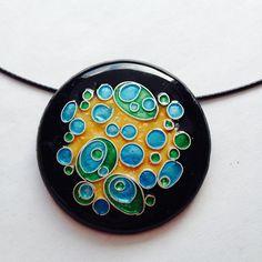 opal, blue, and green enamel cloisonné pendant.