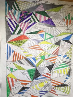 This is a triangles draw wich I made  with a pencil and colors