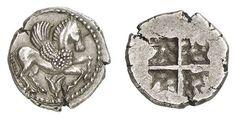 A Rare Greek Silver Tetrobol of Therma[i] (?) or Argolis (?) (Macedon) SIlver, ca. 500-475 B.C.E., 2.36 grams  Archaizing Pegasus right, lotus bud below / rough quadripartite incuse square.  A superb example of this rare issue of coinage.