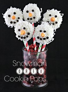 snowman oreo cookie pops