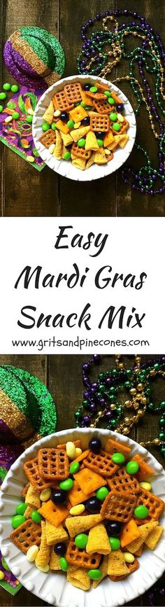 Mardi Gras Snack Mix is easy to make, full of sweet and savory treats and the festive colors of Mardi Gras which are purple, green and gold.  via @http://www.pinterest.com/gritspinecones/