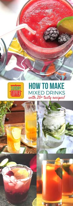 Learn how to make mixed drinks with this handy guide that includes our most delicious Sunday Supper recipes for refreshing summer beverages! This guide has everything you need to serve the tastiest cocktails and mocktails at all your summer parties! Our s