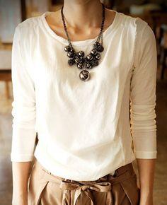 multi-layer big beaded tassel necklace